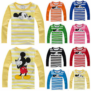 Kids-Baby-Boys-Girls-Clothes-Mickey-Striped-Long-Sleeves-T-Shirt-Tee-Toddler-Top