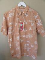 Alfred Shaheen Reyn Spooner M Hawaiian Reverse Print Pullover Henley Shirt
