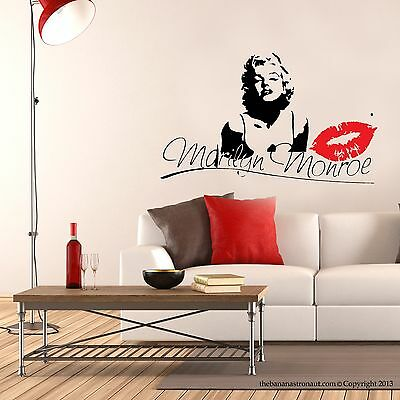 Marilyn Monroe Kiss Wall Decal Stickers Decor Easy Removable Sticker Size Small