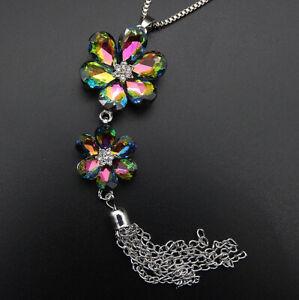 Betsey-Johnson-Multi-Color-Crystal-Flower-Tassel-Pendant-Sweater-Necklace