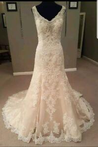UK-White-Ivory-Sleeveless-Lace-Beaded-Neckline-Mermaid-Wedding-Dress-Size-6-18