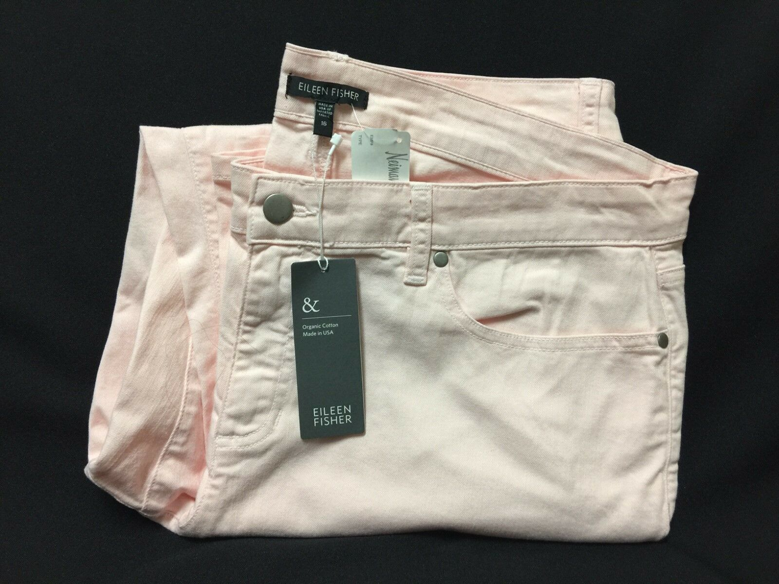 NWT Eileen Fisher Shell Pink Skinny Ankle Organic Cotton Jeans  Sz 16 FS