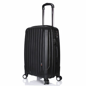 Hard-Shell-Luggage-Suitcase-Lightweight-4-Double-Wheels-24-034-Medium-3-3kg-Black