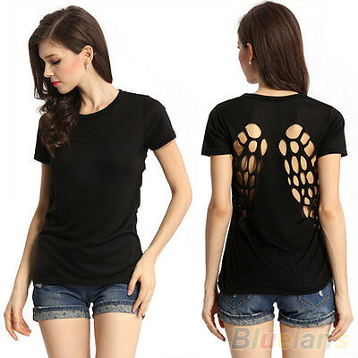 Fashion Punk Ladies Black Angle Wing Hollow Cotton Blouse Tops Cool T Shirt B1CU