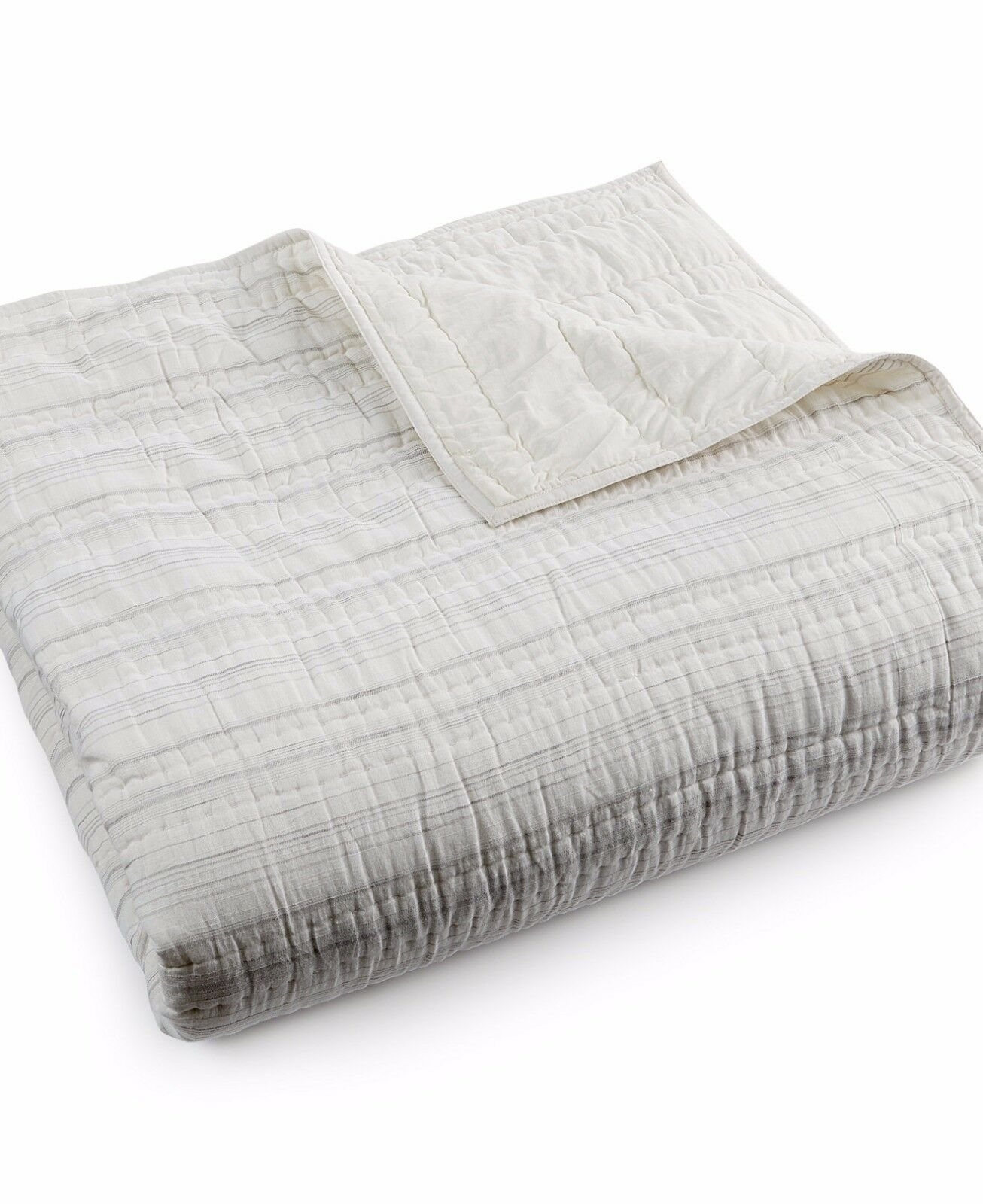 Hotel Collection Linen Fog Cream Stripe Full Queen Quilted Coverlet  285 DISPLAY