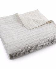 Hotel Collection Linen Fog Cream Stripe Full Queen Quilted ... : hotel collection quilted coverlet - Adamdwight.com