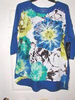 Onque Womens 2x Blue White Green Women's Print Top Mini Studs