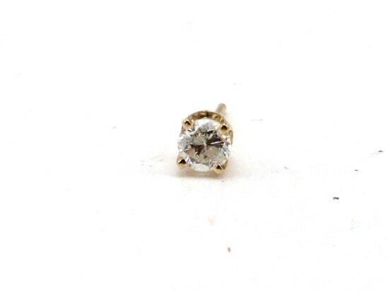 14k Yellow gold Round Diamond Solitaire Stud Single Earring .20ct 1 5ct