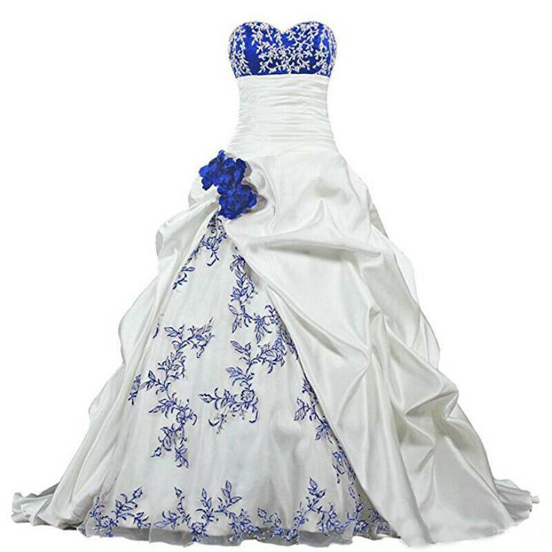 Embroidery Wedding Dress Sweetheart Satin Beaded A-line Bridal Gowns Ruffle Lace