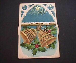 Rare-Christmas-Bells-Mechanical-KALEIDOSCOPE-Antique-Christmas-Postcard-k781