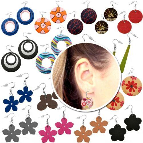 Ohrringe Holz Ohrhänger Holzschmuck Blume Rund Natur Vintage Button Damen Kinder