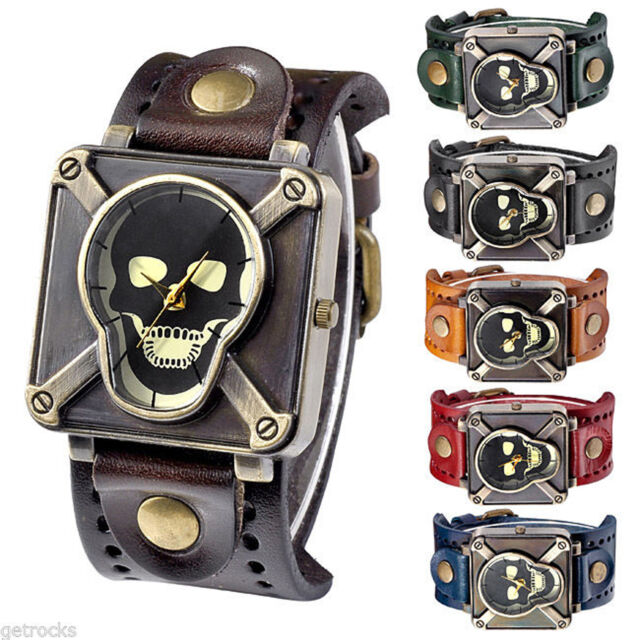 Gothic Rock Mens Cross Skull Dial Genuine Leather Band Square Quartz Wrist Watch