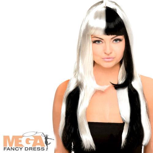 Noir /& Blanc Perruque Femme Halloween Déguisement Robe 60 s 70 s Adultes Costume Accessoire