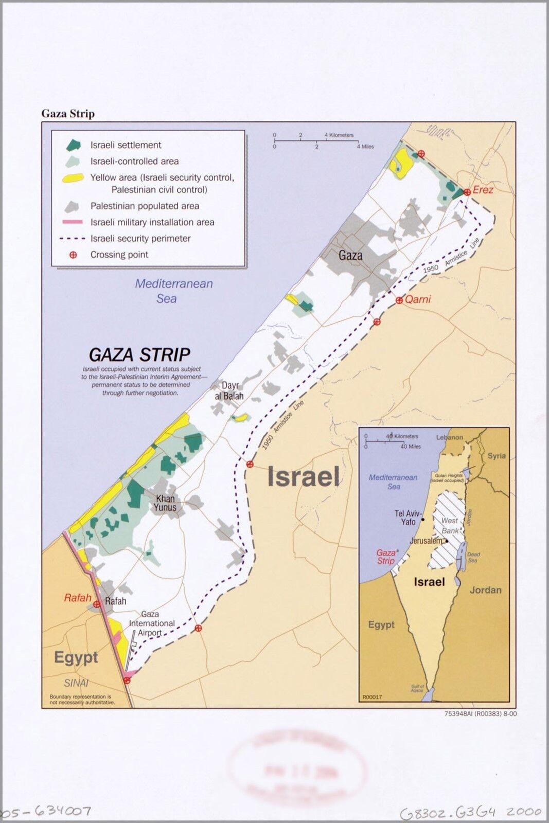 Plakat, Viele Größen; Cia Karte von Gaza Strip 1985