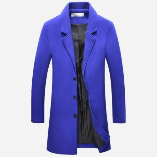Mens Woolen Jacket Slim Fit Single Breasted Trench Coat Outwear Mid Length Hong2