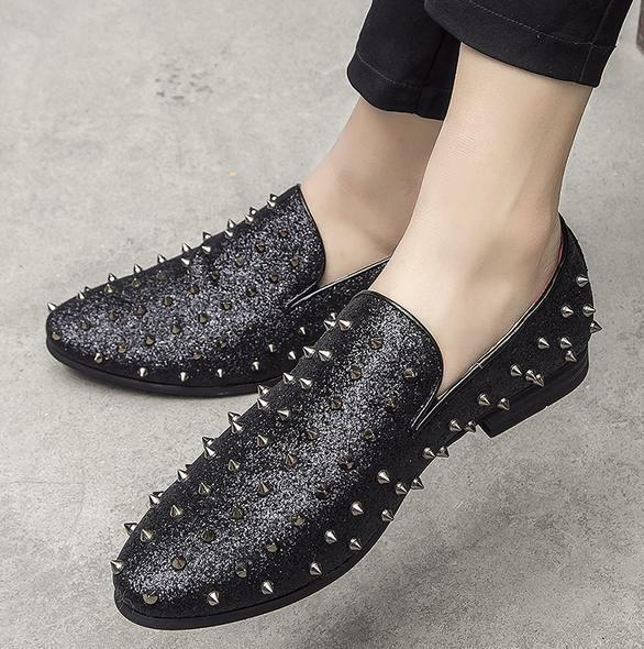 Men Loafers Rivet Sequins Bling Studs Slip On Dress Formal Punk Clubwear shoes