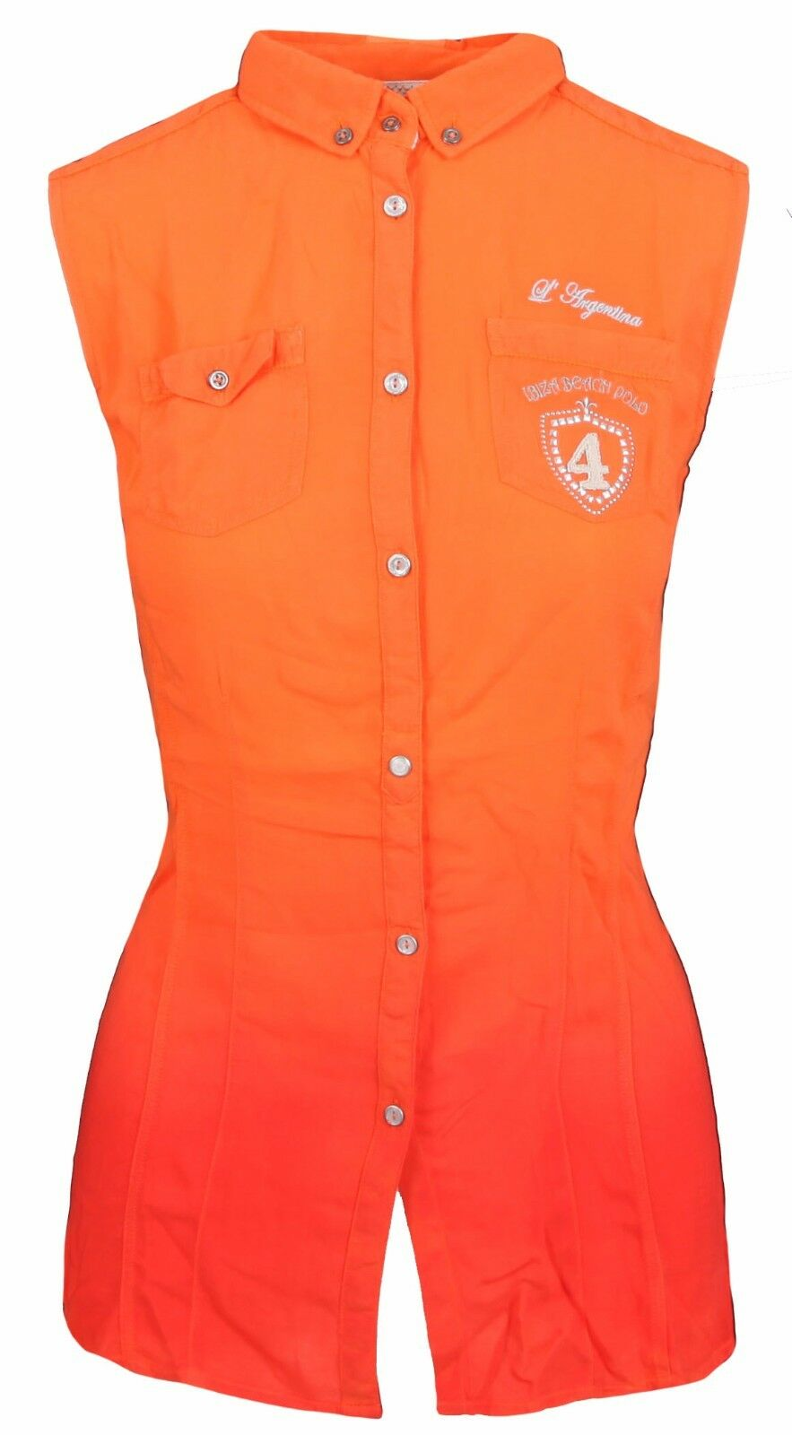 L' SilberINA Damen Blause damen Shirt Größe 38 M Ärmellos 100% Viskose Orange Rot