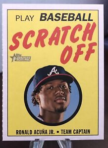 Ronald Acuna Jr 2020 Topps Heritage Baseball Scratch Off Card #5 Of 15 Braves