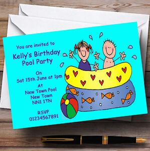 splash swimming pool children s personalised party invitations ebay