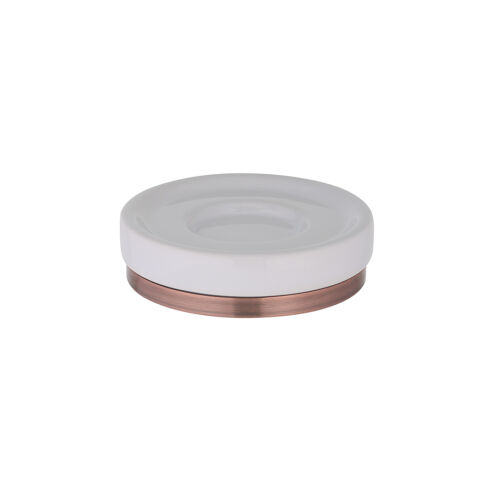Seifenschale Seifenablage Seifenschüssel Keramik weiß Eisen kupferfarben Bad