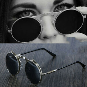 Flip-up-circle-Steampunk-Glasses-Goggles-sunglasses-Emo-Retro-vintage-cyber-punk