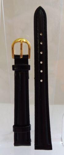 Bracelet Montre Cuir Véritable 12 mm Noir Boucle Couleur Or Neuf !!