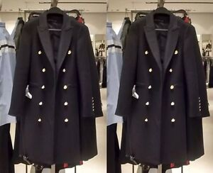 04e7aab40b54 ZARA Long Crossover Wool Coat Black Military Style Gold Buttons ...
