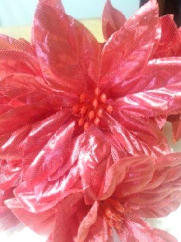 Artificial Metallic Red Poinsettia Bush 14 Stems Christmas Decor Crafts   BF
