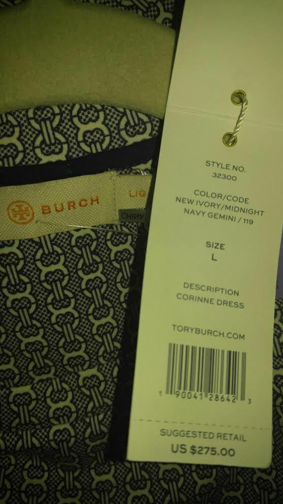 83ee6fd7f69 Tory Burch Corinne Ivory midnight Navy Gemini Link Print Dress Large for sale  online