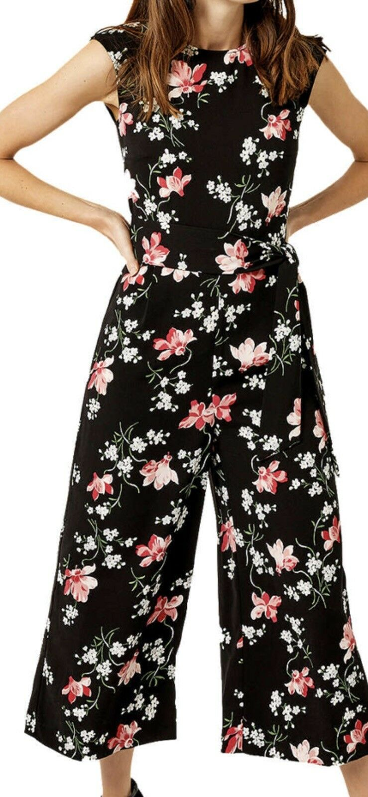 fec4b5adb2d Warehouse constantine floral print Jumpsuit Size 6 Black mix sleeveless 3 4  lgt