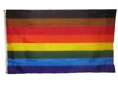 Rainbow 3x5 Texas Poly Flag Banner Brass Grommets