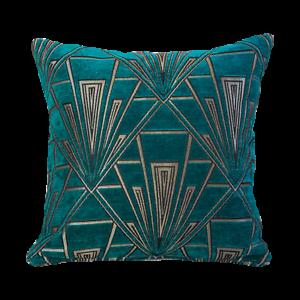 Red and Gold Fan Pattern. Luxury Velvet Chenille Art Deco Boudoir Cushion