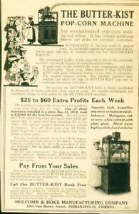 Advertising-The-Butter-Kist-Pop-Corn-Machine-Mahogany-Oak-or-Ivory-Cabinet-1915