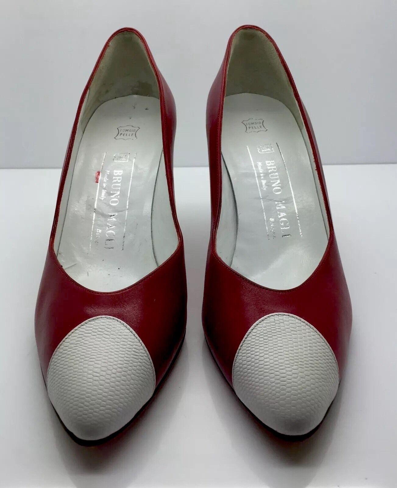 BRUNO MAGLI Red Leather White Patent Cap Toe Classic Spectator Pumps 6.5 Italy