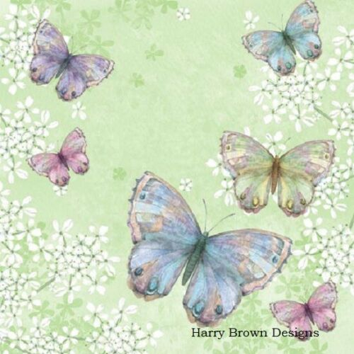 Weddings 2 Paper Napkins Serviettes for Decoupage Parties Butterflies
