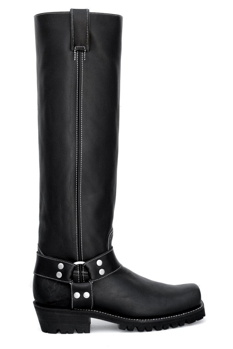 HARNESS BOSS -Embossy FULL LINED Knee-High Motorcylce Biker Boots-Black-Calf M L