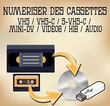 Numérisation de cassettes de magnetoscope (VHS / MiniDV / Video8 / Hi8 / VHS-C)