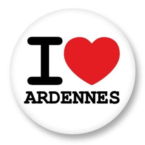 Pin Button Badge Ø25mm I Love Ardennes 08 Département Region Champagne Ardenne