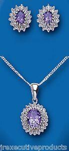 Diamant, Pierre Précieuse Joaillerie Améthyste Et Diamant Pendentif Et Earrings Set Argent Massif Firm In Structure