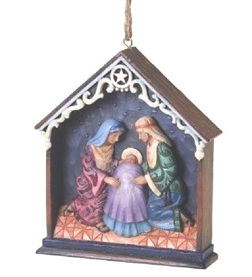 """JIM SHORE  """"HOLY FAMILY in STABLE ORNAMENT"""" #4025303 NEW * FREE SHIPPING *"""