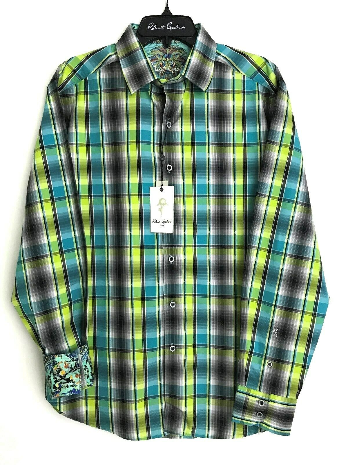 Robert Graham HIRAN Egyptian Cotton Large NEW NWT  Classic Fit Free Ship  L