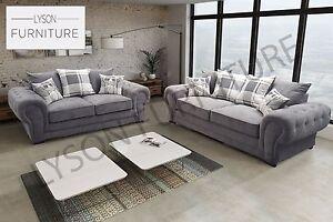 Image Is Loading VERONA Sofa Set 3 2 Chesterfield Fabric Silver