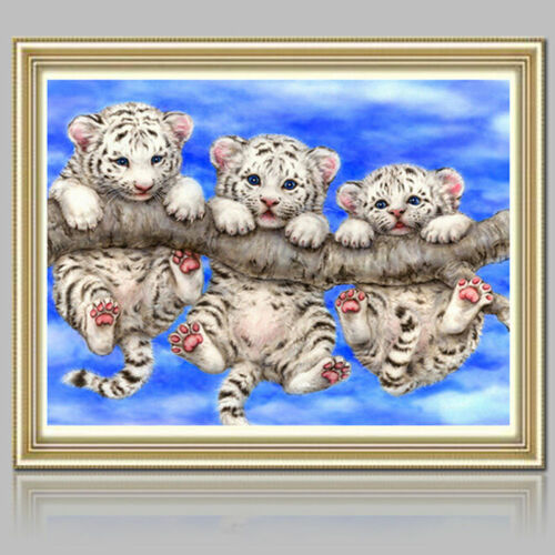 UK 3 Tigers Full Drill 5D Diamond Embroidery Painting Cross Stitch Kit Decor MA