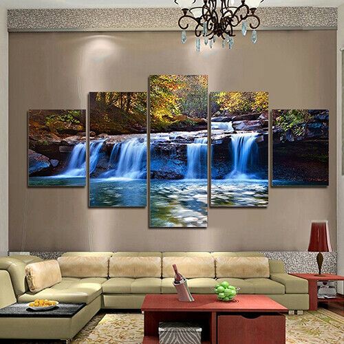 5Pcs Unframed Waterfall Wall Art Painting Picture for Living Room Home Decor USA 4