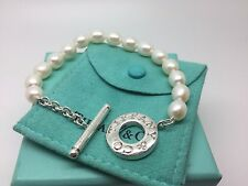 Tiffany & Co Sterling Silver Pearl Toggle Bracelet 7.5' Inch Pouch Box
