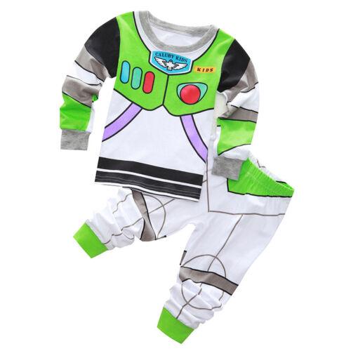 Kinder Mädchen Junge Superheld Pyjama Pjs Nachtwäsche Schlafanzug Langarm Outfit