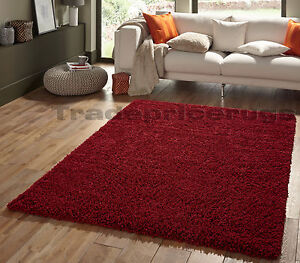 SMALL-EXTRA-LARGE-THICK-SHAGGY-SHAG-PILE-DARK-RED-BURGUNDY-RUG-CLEARANCE