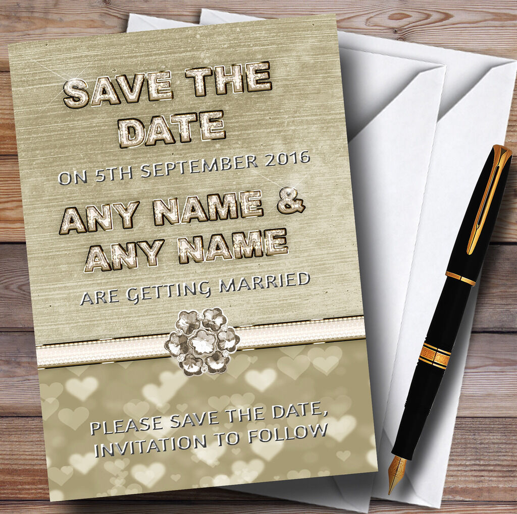 Titanium Gold And Weiß Personalised Wedding Wedding Wedding Save The Date Cards 9aff7b