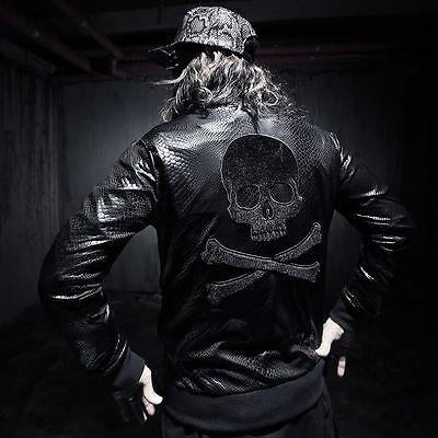 ByTheR Black Chic Snake Patterned Jacket Zip Up Glossy P0000TKE CA
