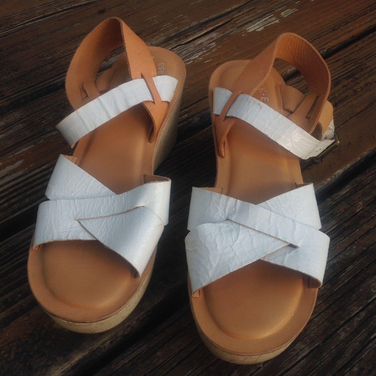 Zapatos de cuero KORKS Kork ease ease ease blancoo Habano Cuña Sandalias De Plataforma para mujer 9 EU 40.5  bienvenido a comprar